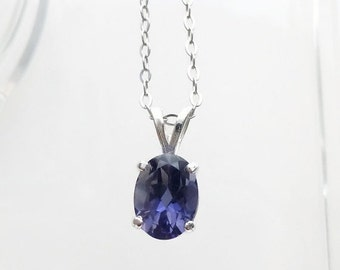 ON SALE Purple Iolite Gemstone Necklace, Iolite Jewelry, Gemstone Pendant, Fine Jewelry, 925 Sterling Silver