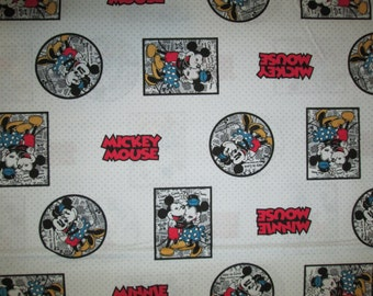 Mickey Mouse Minnie Circles Squares Comic Book Cotton Fabric Fat Quarter or Custom Listing