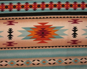 Navajo Light Teal Gold Traditional Border Cotton Fabric Fat Quarter Or Custom Listing