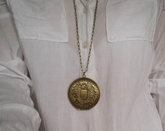 Large Locket Necklace. Brass Locket. Keepsake Necklace. Very Large Locket. Vintage Locket. Long Necklace. Photo Locket