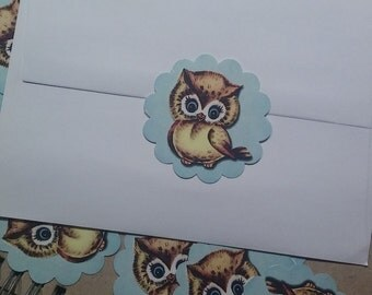 Vintage baby owl sticker, Baby owl labels,  owl stickers,  Baby shower owl label,  owl favor tags,  owl envelope sticker