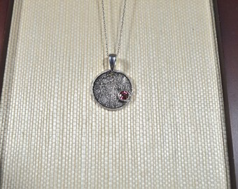 Handmade Asian Medallion Fine Silver Pendant with Genuine Pink Tourmaline