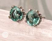 Round Emerald Earrings in 14k White Gold Post Settings May Birthstone Gemstone Jewelry