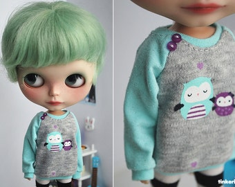 Mint Owls sweater for Blythe
