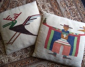Pair of woven ethnic pillows/ vintage oversized pillows/ set of two ethnic bohemian decor pillows/ unique vintage handmade pillows