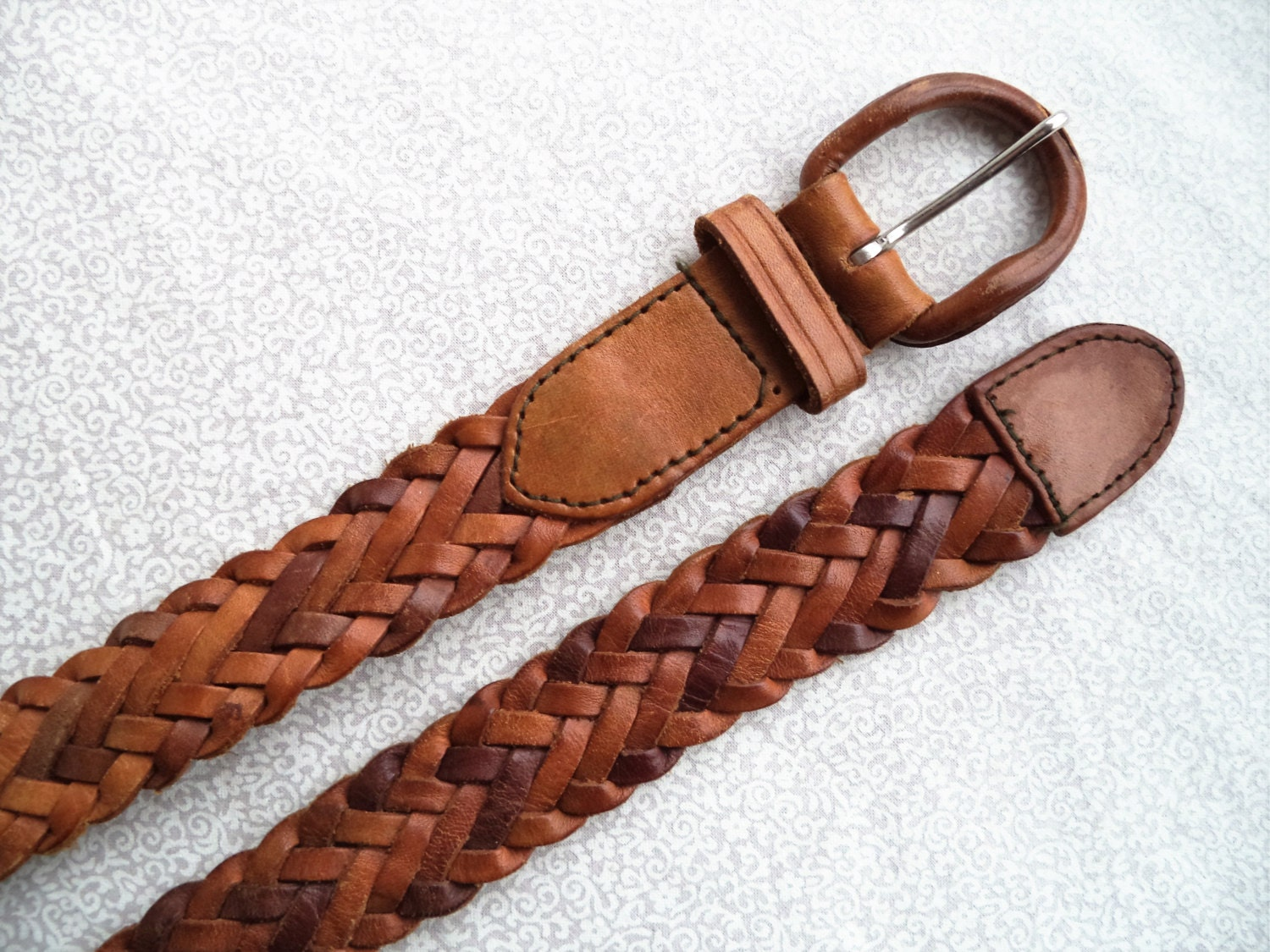 brown woven leather belt vintage woven leather belt