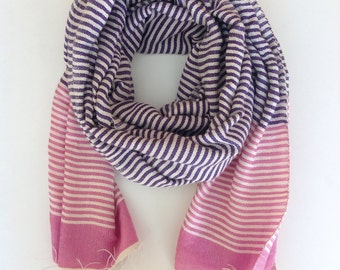 pink and purple cotton ticking stripe scarf
