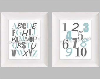 Alphabet Numbers Blue Gray Nursery Play Room Wall Art Paper Print Set