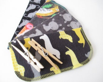 Cloth Napkins--Set of 4--Dogs/Cats/Bunnies/Birds in Charcoal and Black--Regular--Ready to Ship