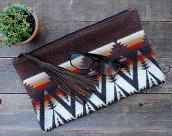 CLEARANCE // Pendleton Wool FringedClutch with Brown Leather Tassel // Rosebud Originals