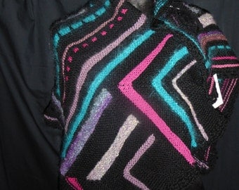 Black , turquoise and hot pink evening shawl with beaded ribbon  inserts