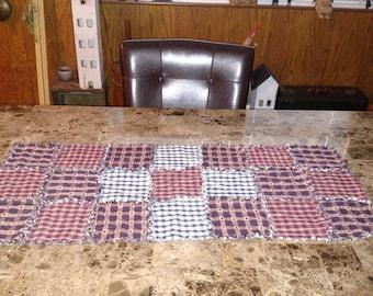 40x18 Handmade Rag Quilt Table Runner 2 layers Burgundy and Cream plaid & Blue and Cream check Homespun, Navy Blue Dobby Star Plaid