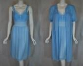 1950s Gotham Gold Blue Peignoir Set, 36,  Medium, Nightgown, Robe