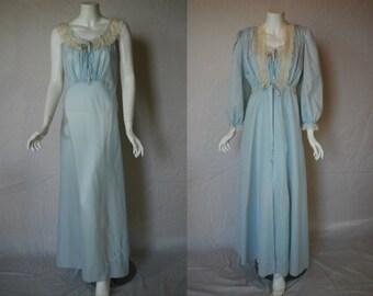 1950s Lady Lenora Peignoir Blue Set, Nightgown, Robe, Medium, Large, Bias Cut Nylon Bur Mil Fabric
