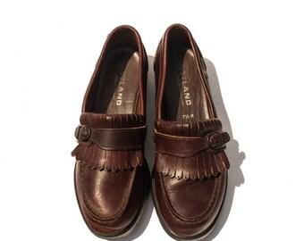 40% Off Sale 7.5 M | Women's Eastland Shoes Brown Kiltie Fringe Loafers