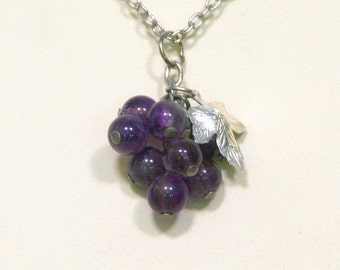 Bunch of Grapes Amethyst Silver Leaf Necklace