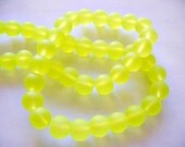 Beach Glass Beads Highlight Yellow Frosted 8MM