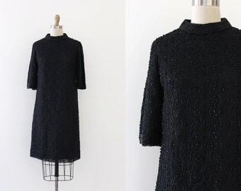 CLEARANCE vintage 1960s dress // 60s black beaded shift dress