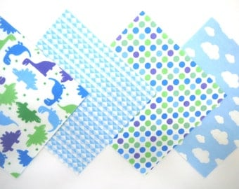 "48 Flannel Fabric Pre Cut in Fun Dinosaurs, Triangles, Dots and Cloud Print Flannel 6""x6"" Quilt Squares"