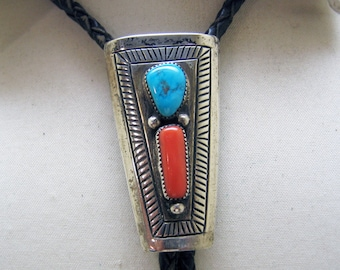 Vintage Sterling Turquoise  and Coral Native American Bolo Tie, Signed