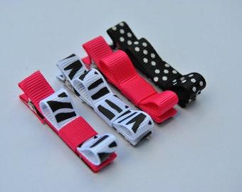Baby Hair clips, Infant hair clips, Toddler hair clips, Tuxedo Clips, Set of 4 hair clips, Hot Pink and Zebra