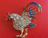 Large Rhinestone and Enamel Rooster Brooch and Pendant