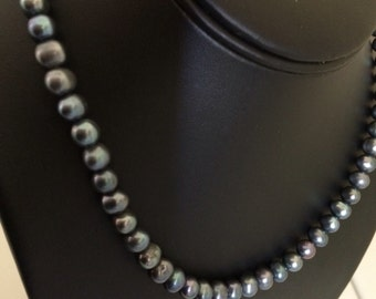Genuine Blue 6mm Cultured Pearl Bead Necklace
