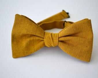 Freestyle Bowtie in Gold Linen- Mustard Linen- Self Tie Bowtie