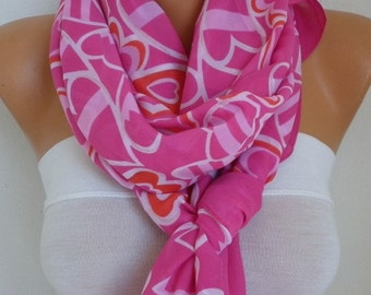 Hot Pink Heart Print Chiffon Scarf,Summer Shawl,Pareo, Big Size,Women Scarves Gift Ideas For Her Women Fashion Accessories,Birthday Gift