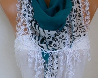 Teal Cotton Scarf Valentine's Day Gift Necklace Cowl Gift Ideas For Her Women Fashion Accessories