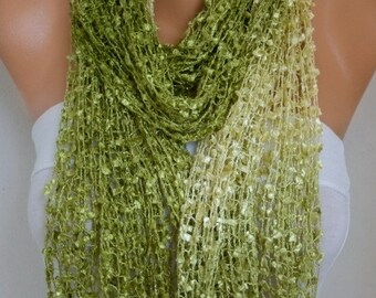Fresh Lime Knitted Ombre Scarf,Wedding Shawl,Graduation,Bridal Accessories,Bridesmaid Gift, Gift Ideas For Her, Women Fashion Accessories