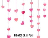 80% OFF SALE Pink Watercolor Heart Clip Art, Wedding Clip Art, Commercial Use Clipart