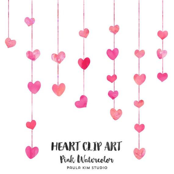 Pink Watercolor Heart Clip Art Wedding Clip Art Commercial