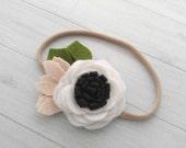 Wool Felt  Rose Headband or Hairclip- Blakck and White-  On Nylon Headband