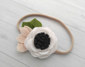 Wool Felt  Rose Headband or Hairclip- Black and White-  On Nylon Headband