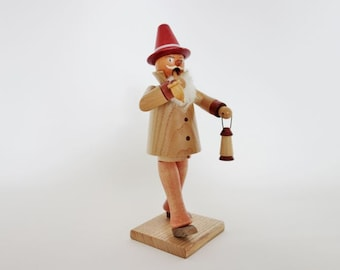 Vintage German Incense Burner Smoker Man with a Beard, a Pipe and a Red Hat Holding a Lantern