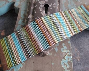 Fall wide beaded stripe leather cuff bracelet - Serape - colorful brown turquoise ombre fringe tassel yoga boho by slashKnots