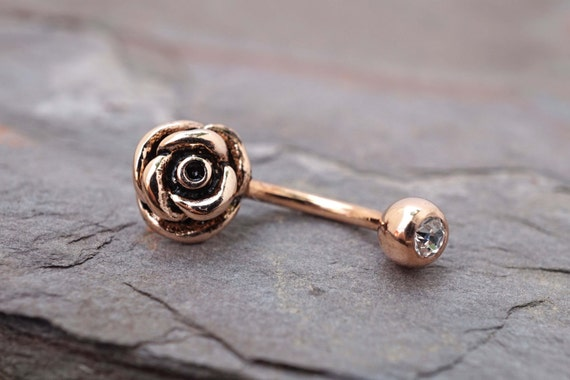 14kt rose gold rook earring daith piercing eyebrow ring