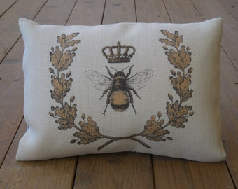 Queen Bee Burlap Pillow Shabby Chic Bees INSERT INCLUDED