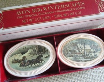 Avon Currier and Ives Fragranced Soaps    Avon 1876 Winterscapes