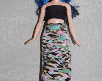 Curvy Barbie Maxi Skirt A4B166 fashionista fashion doll clothes grey/pink/blue READY TO SHIP