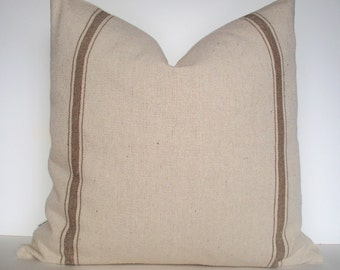 Feedsack Pillow Brown Farmhouse Pillow Tan Grain Sack Look Pillow Cover Tan Stripe Grain Sack Pillow