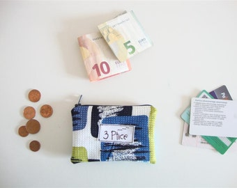Coin Purse, Artsy Zipper Pouch for Cards and Coin, Zipper Coin Purse, Mini Zipper Wallet, Eco Friendly, Made in Europe, by 3 Ptice