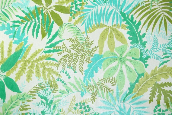 Retro Wallpaper by the Yard 70s Vintage Wallpaper - 1970s Green and Aqua Tropical Leafy Ferns Botanical