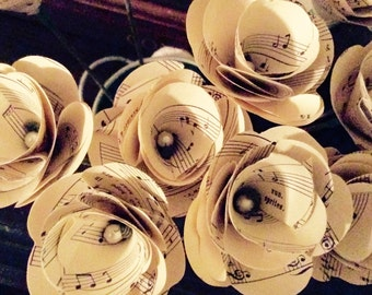 Vintage Music Paper Flowers, Music Flowers, Music Sheet Wedding, 12 Paper Stem Roses, Eco Wedding Flowers, DiY Wedding Flowers