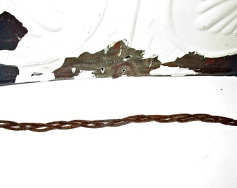 """Antique Fencing Barbed Wire Othneil Preston Braided 1 rusty stick Patented Oct. 18 1881 approx 18"""" Barb Bob Bobbed Assemblage Upcycle"""