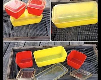 Vintage Lusterware Refridgerator dishes set of three with lids