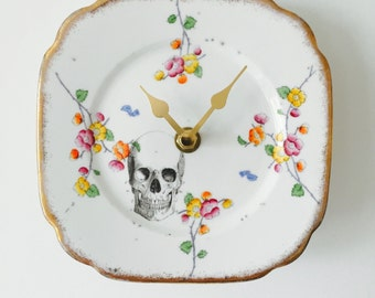 Black Skull Plate Clock Pink Yellow Flowers White China for Kitchen Wall House Warming Gift Unique Vintage Homeware Present Made in England