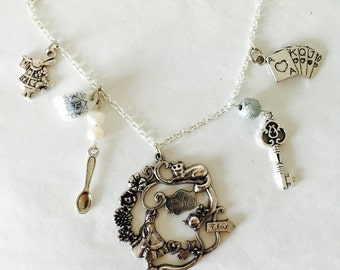 Silver Alice in Wonderland Cheshire Cat Cards White Rabbit Teacup Necklace Chain Afternoon Tea Party Birthday Gift Present Unique for Her