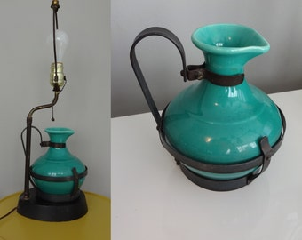 50s Vintage Gladding McBean Catalina El Patio GMB  Mid Century  Iron handle Turquoise Pottery Table Lamp